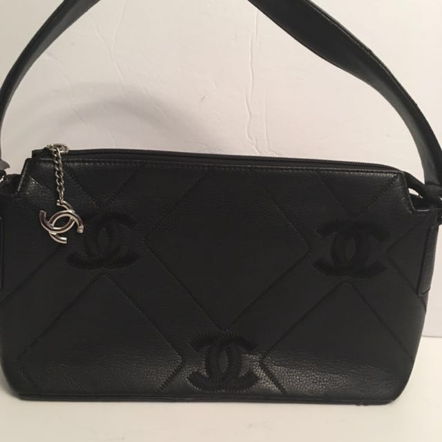 CHANEL black bag with embroidered CC detail