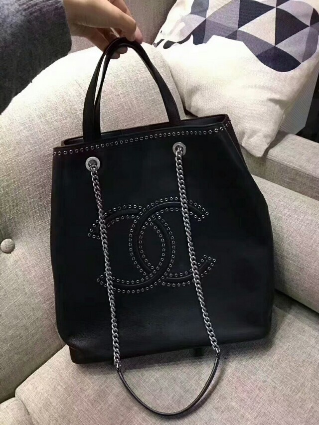 Chanel eyelet tote