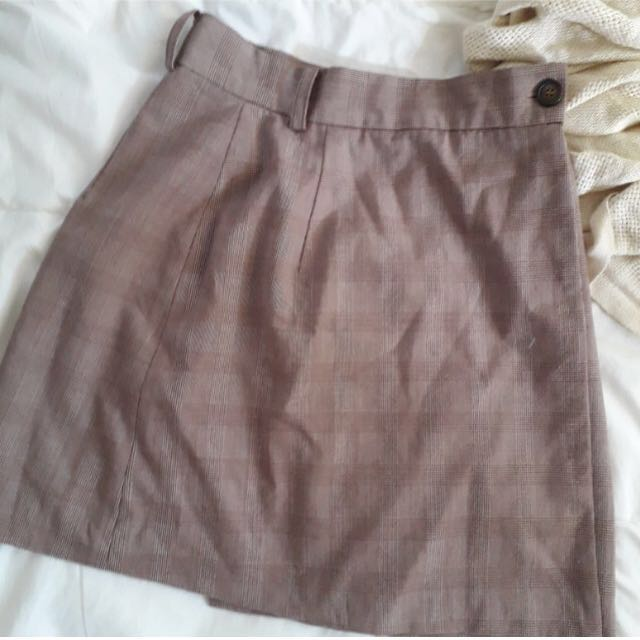 Checkered/ Grid Brown A-Line Skirt