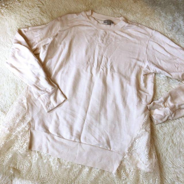 美國製🇺🇸Clu 超柔軟米白色拼接蕾絲長袖上衣 shopbop購入
