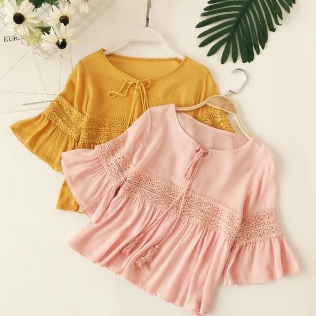 Crochet Wide Sleeve Blouse