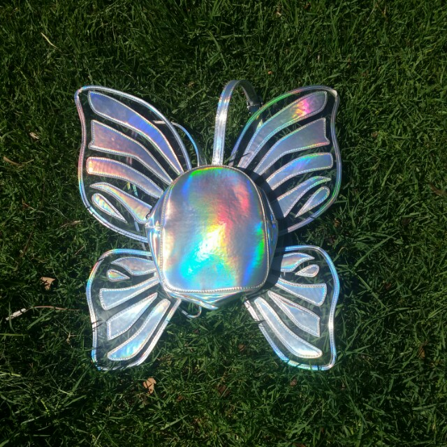 Current Mood Holographic Butterfly Wing Festival Backpack