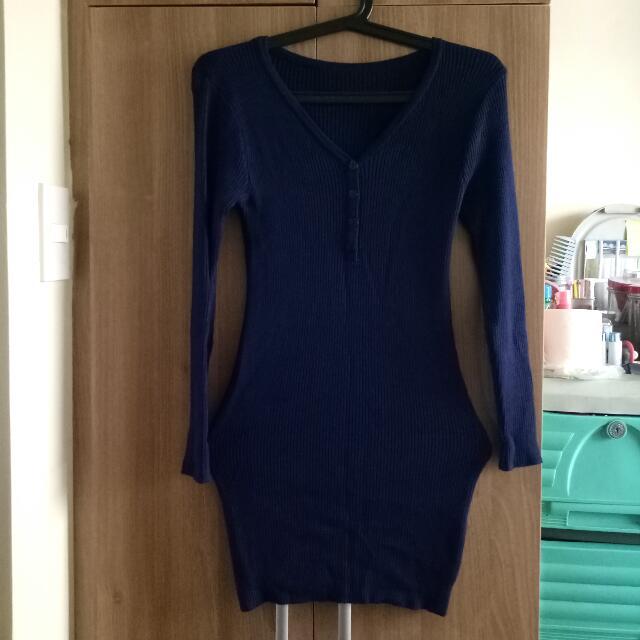 Dark Blue Knitted Dress