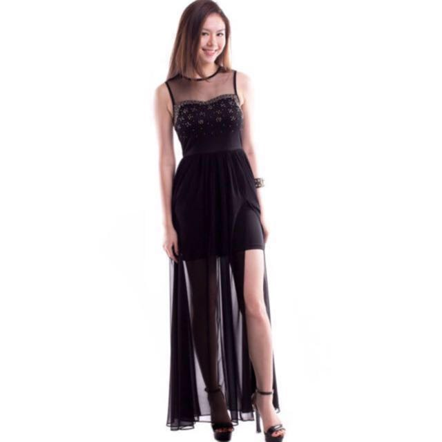 a32b3e21abf Desslyn Luxe Embellished Evening Maxi Dress - Black