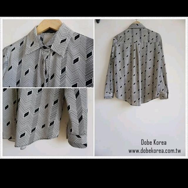 正韓Dobe灰色菱形幾何圖案雪紡襯衫