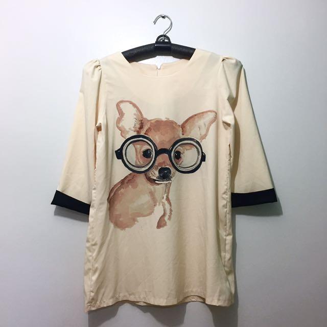 Dog Print Short Dress