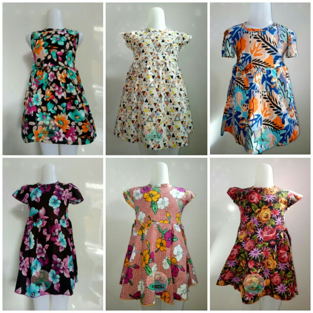 DRESS ANAK MOTIF / DRES LENGAN / DRESS SABRINA / BAJU ANAK / DRESS / DRES KATUN / DRESS CATRA