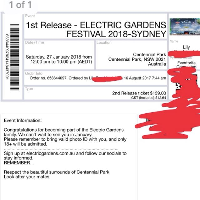 ELECTRIC GARDENS MUSIC FESTIVAL TICKET