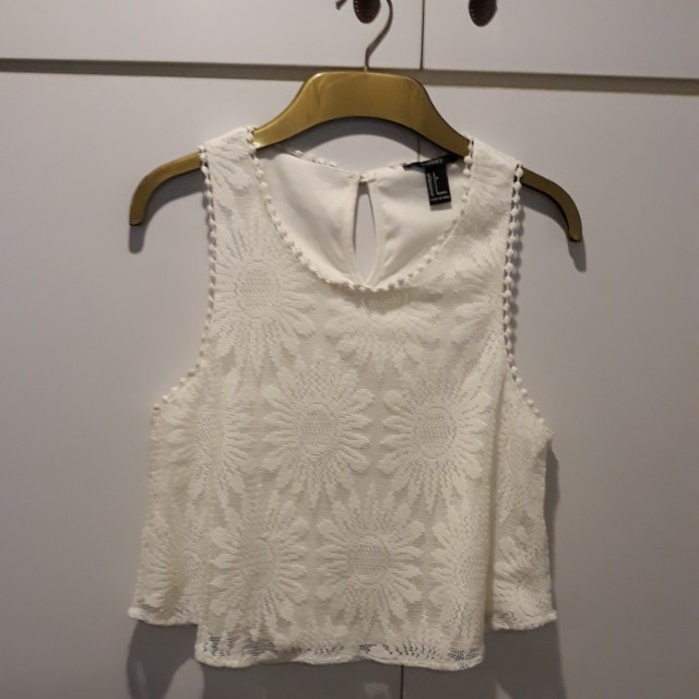 F21 white cropped top