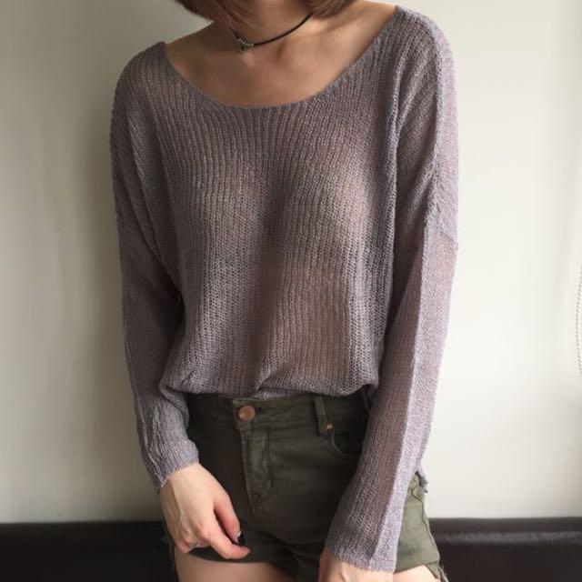 Flattering grey knit top