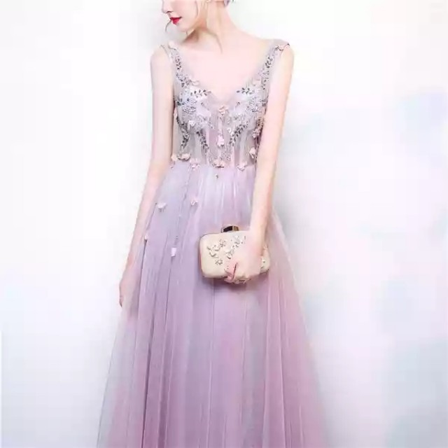 Floral Beads Evening Tulle Gown
