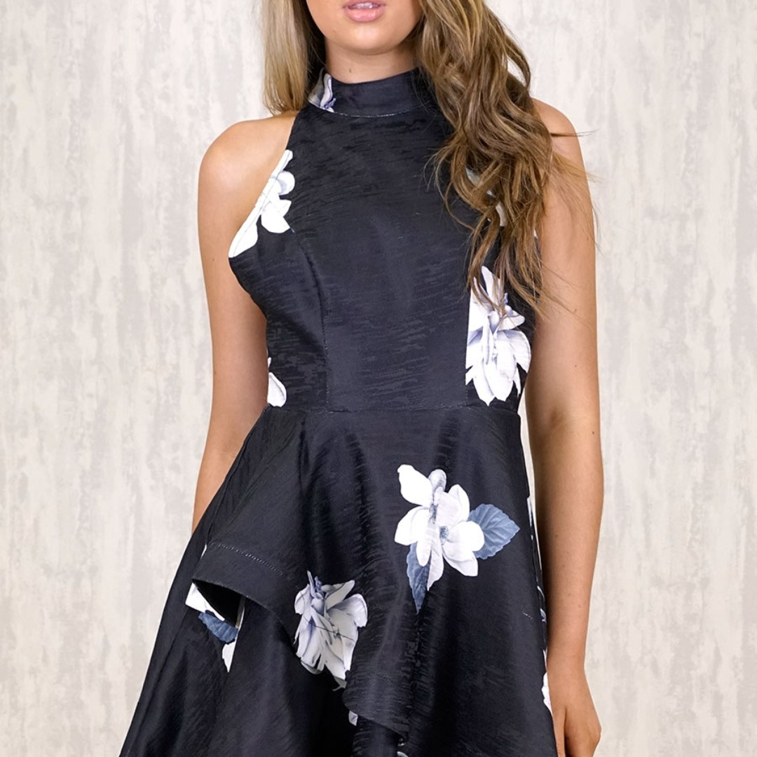 Floral Blac Ruffle Dress Sizes 6-14