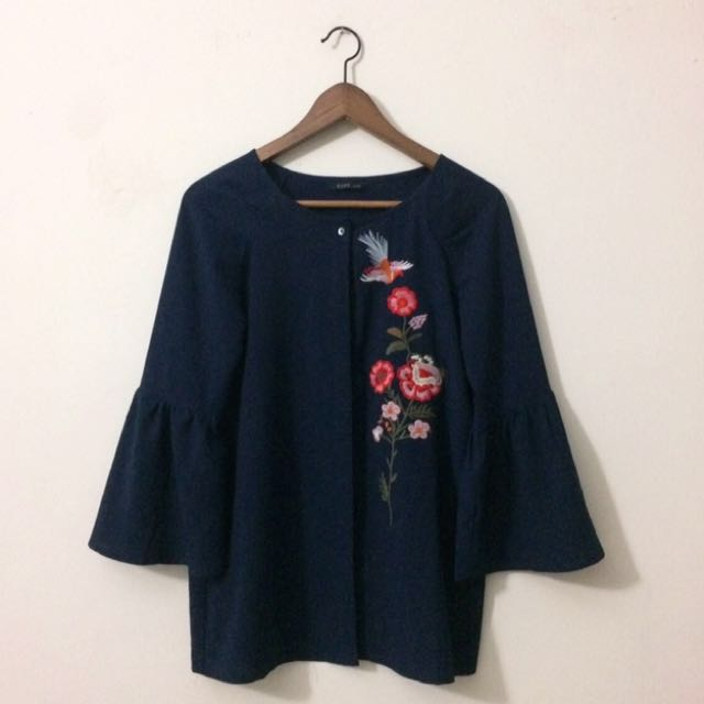 Floral Navy Blue Bell Sleeves