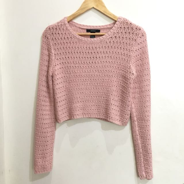 Forever21 Pink Cropped Sweater