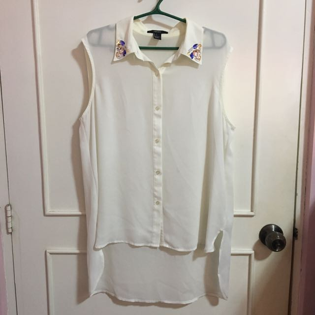 Forever 21 White Sleeveless Button Down with gems