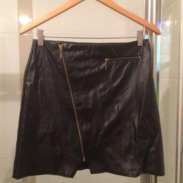 Fu Leather Mini Skirt