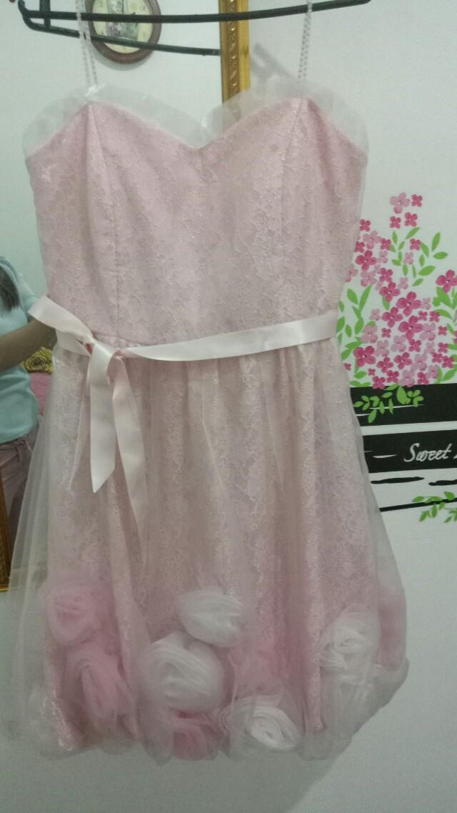 Gaun baby pink