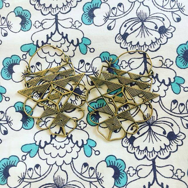 Gold Brass Festival Earrings