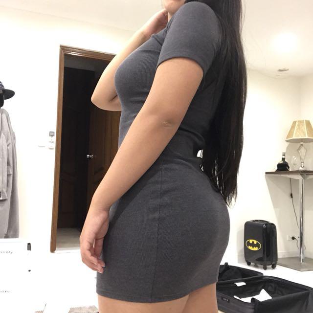 Grey bodycon ribbed dress