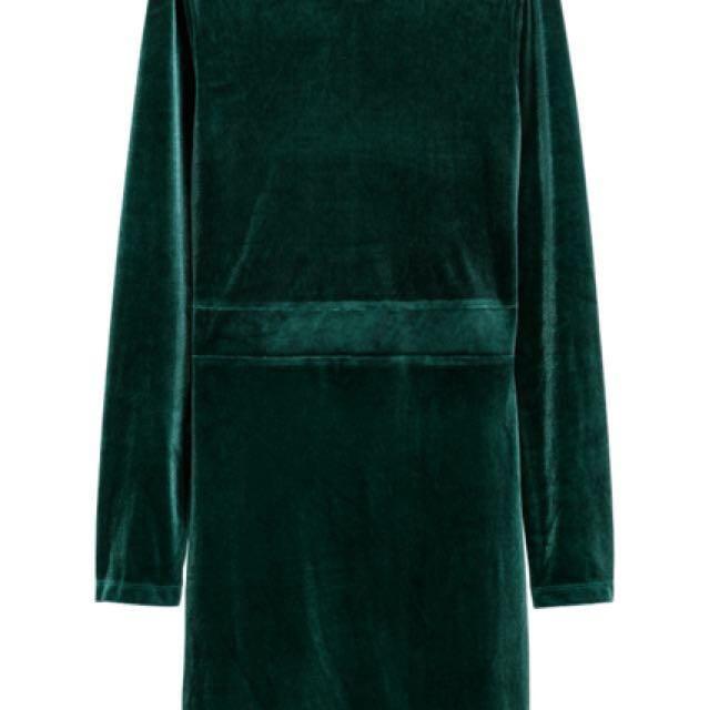 H&M Fitted Velvet Dress (Dark Green) BNWT
