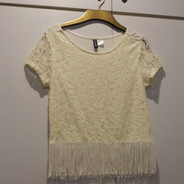 H&M white top with tassels