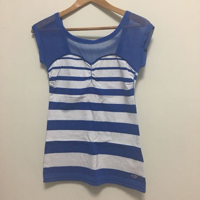 Hollister Blue and white stripe top