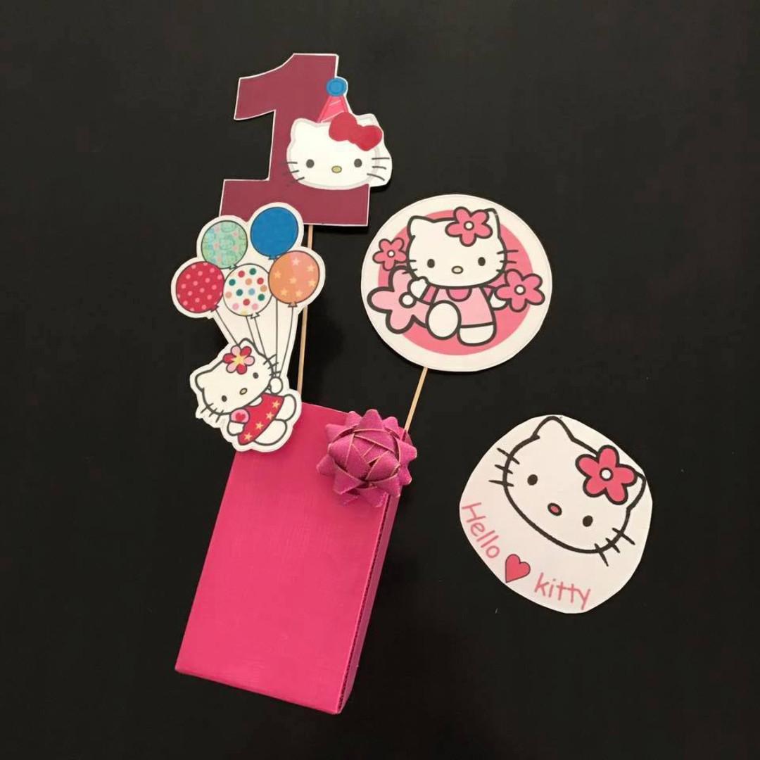 Homemade Hello Kitty Girls 1st Birthday Cake Decorations