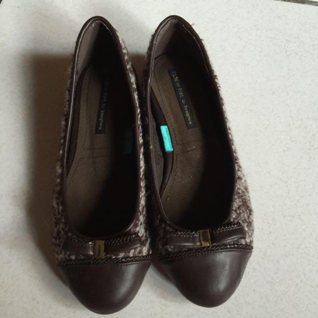 韓國I Love Flat 毛線材質平底二手鞋(九成新)24號