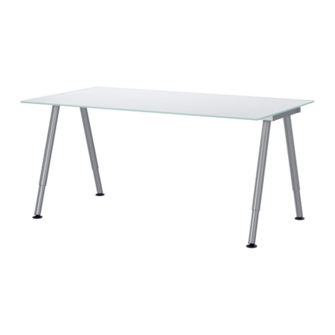 Ikea Galant Bekant Tempered Glass Desk Table Silver Furniture Tables Chairs On Carou