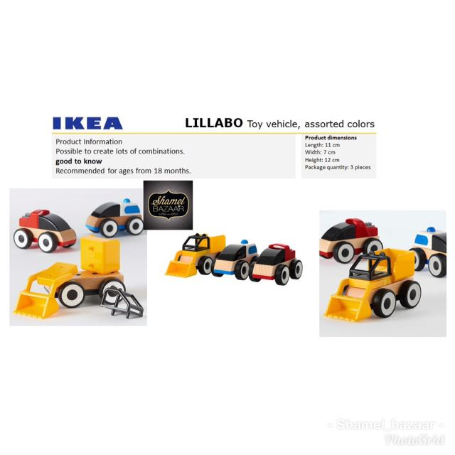 IKEA LILLABO Toy vehicle, assorted colours 3-pieces