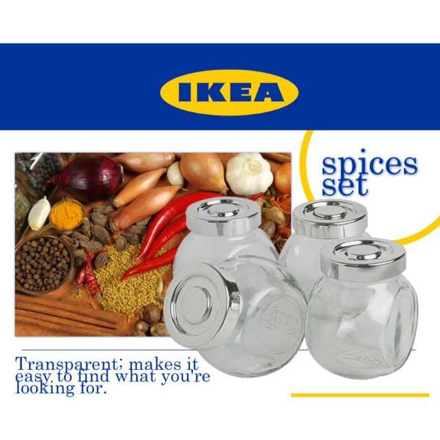 IKEA RAJTAN  Spice jar, glass, 15 cl set of 4