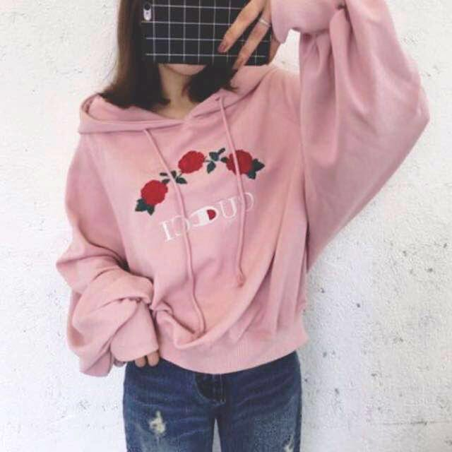 b2582bdfe6d Instock! - BNWT Gucci x Champion Rose Embroidered Hoodie Pullover in ...