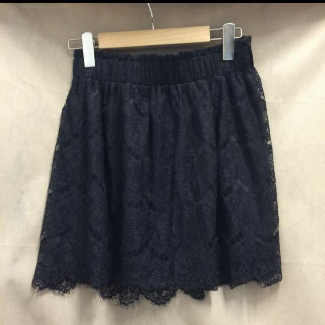 日本專櫃Jeansis黑色蕾絲短裙