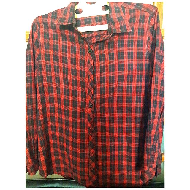 Kemeja Flannel Red-Black Shirt