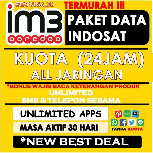 Kouta indosat 1gb=20rb, 2gb=30rb, 3gb=40rb, 7gb=55rb, 10gb=70rb, 15gb=80rb*