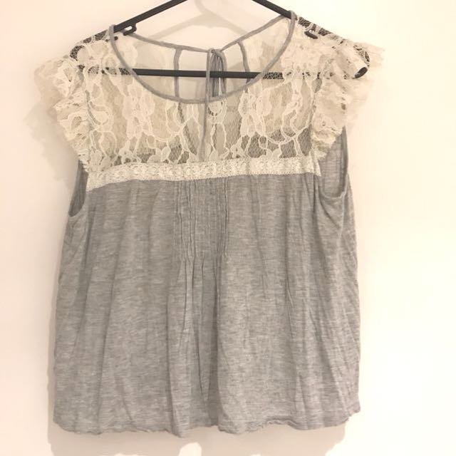 Lace top gray