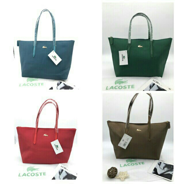 Lacoste metal logo tote bag