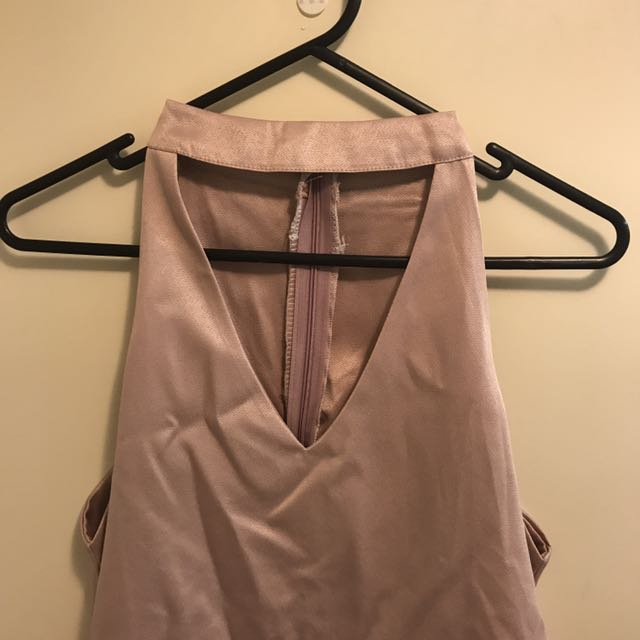 Layered halter neck pink top