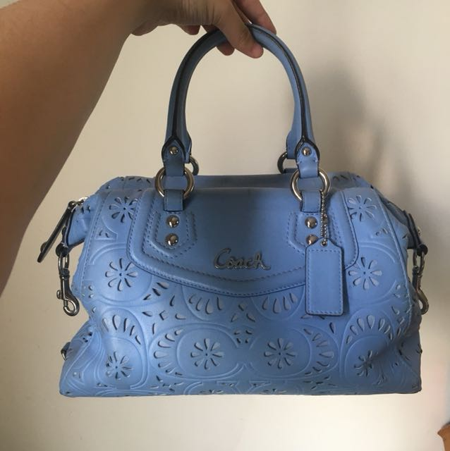 Light Blue Coach Bag with Flower