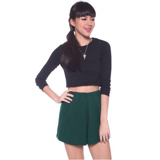 Love Bonito sabrina textured shorts, forest green