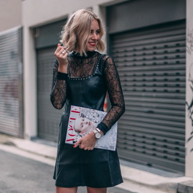 Mango Leather dress with studs