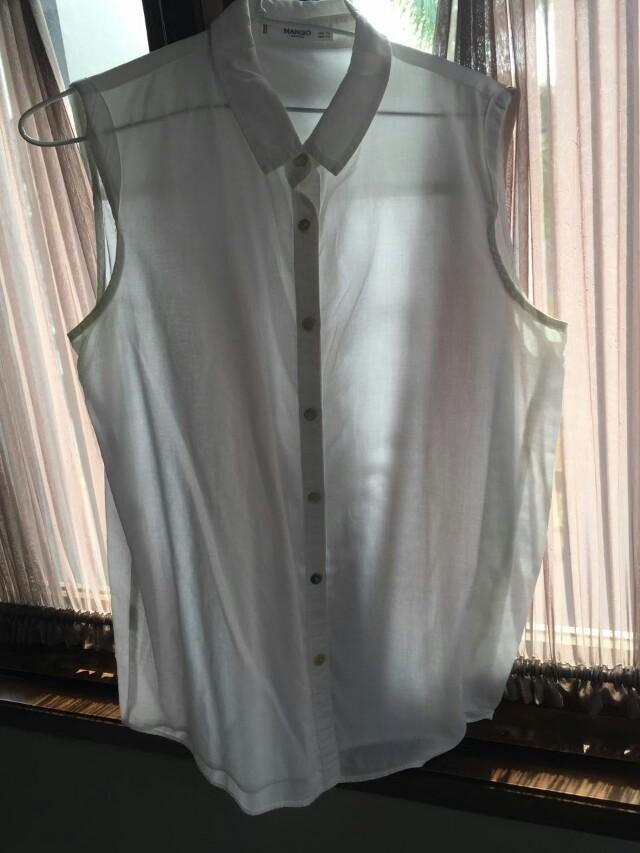 Mango white shirt no sleeve