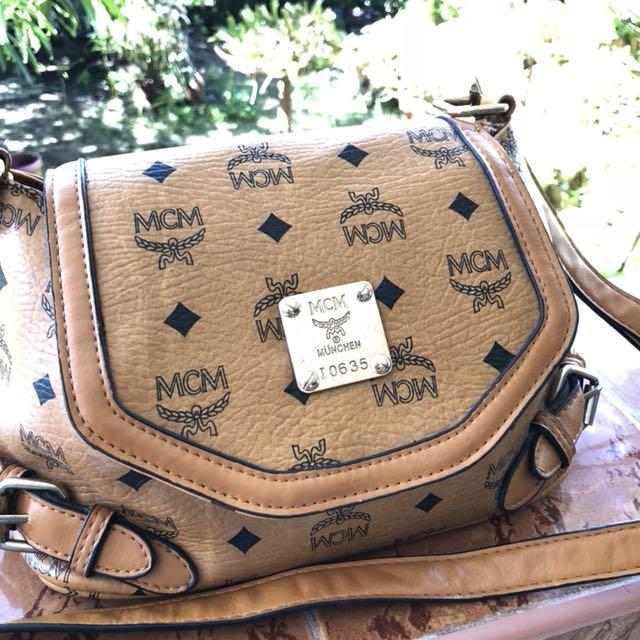 Mcm inspired sling bag
