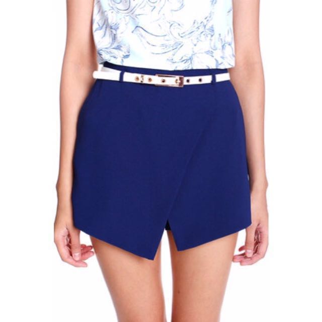 MDS asymmetrical tuck shorts, blue