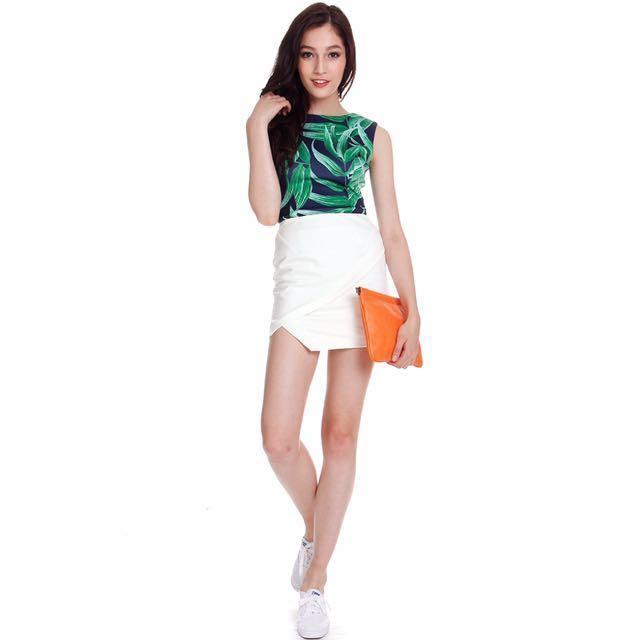 MDS asymmetrical wrap skirt, white