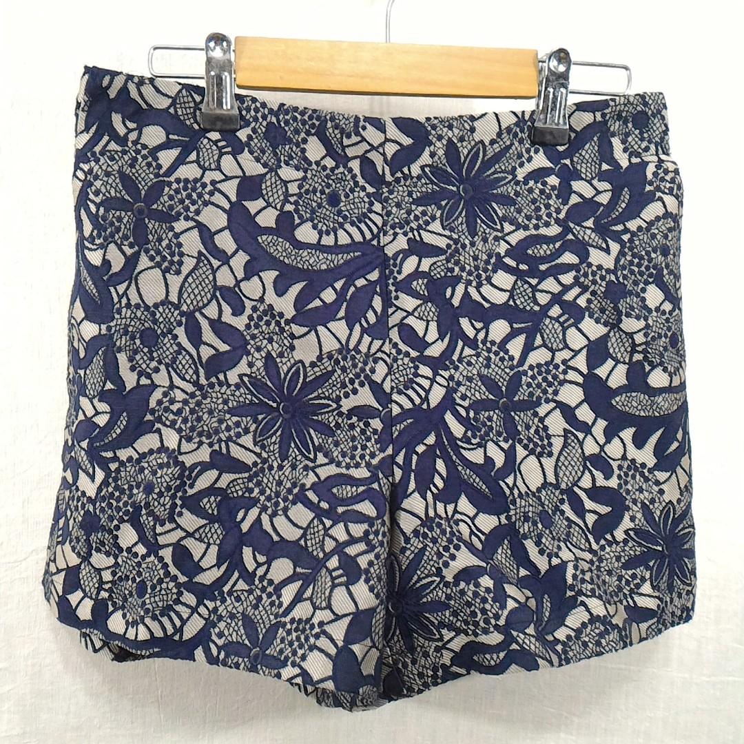 Michel Klein木炭黑花卉圖案鬆緊帶短褲