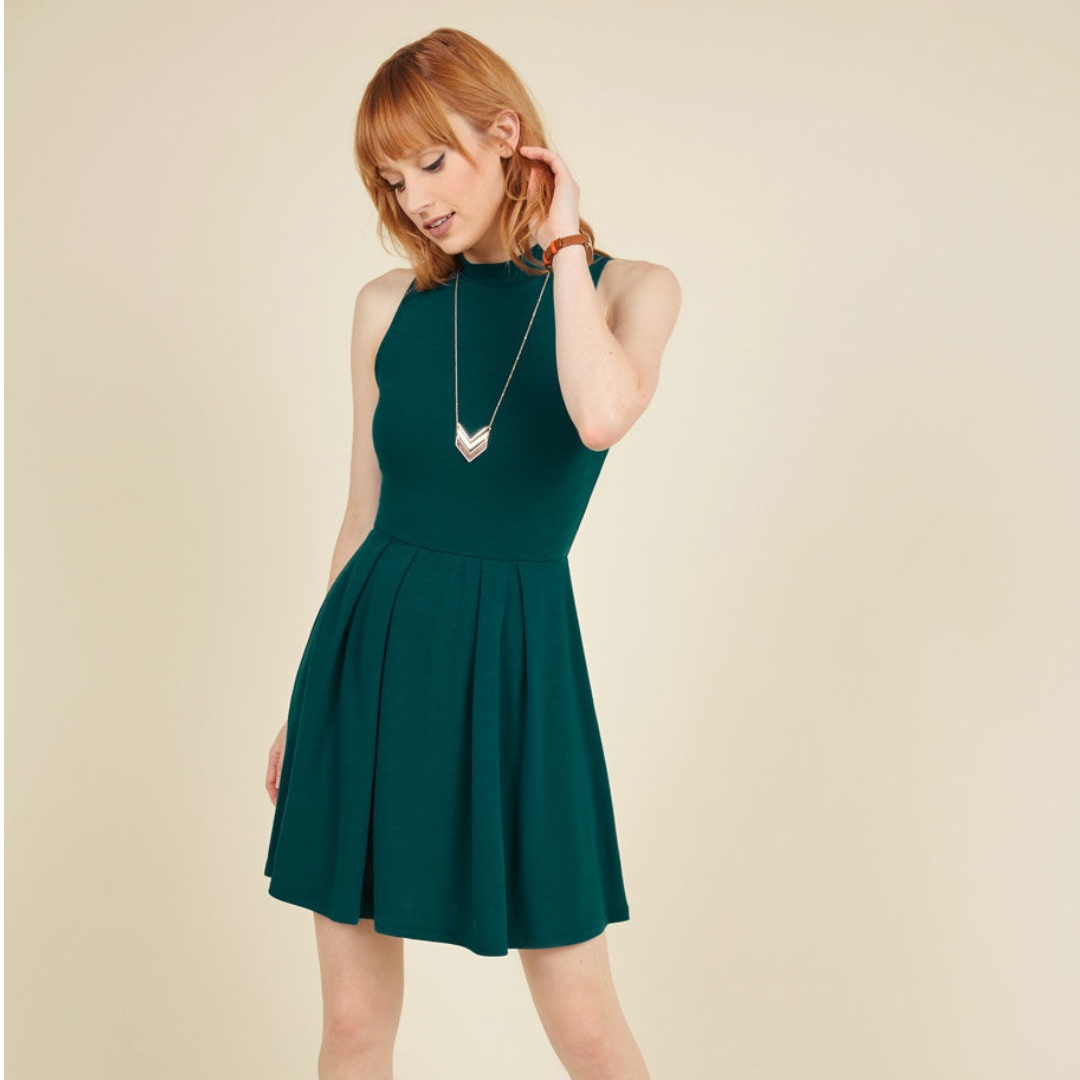 Modcloth Seeking Regal Advice A-Line Dress in Forest in Small / S / 8