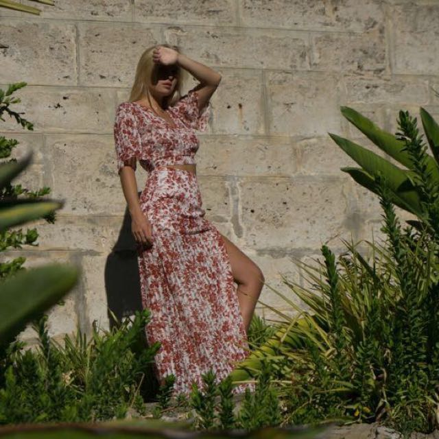 Morrisday the label burnt summer maxi skirt