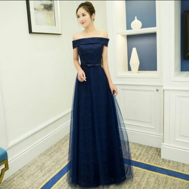 Navy Blue Gown Womens Fashion Bridal Wear On Carousell