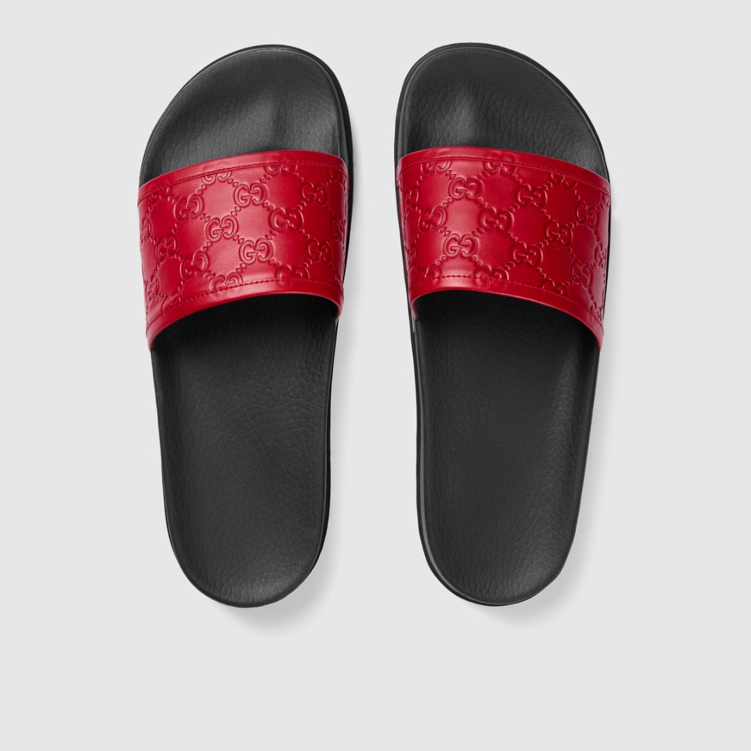 22f058a31f8880 Gucci Signature Slide Sandals Hibiscus Red